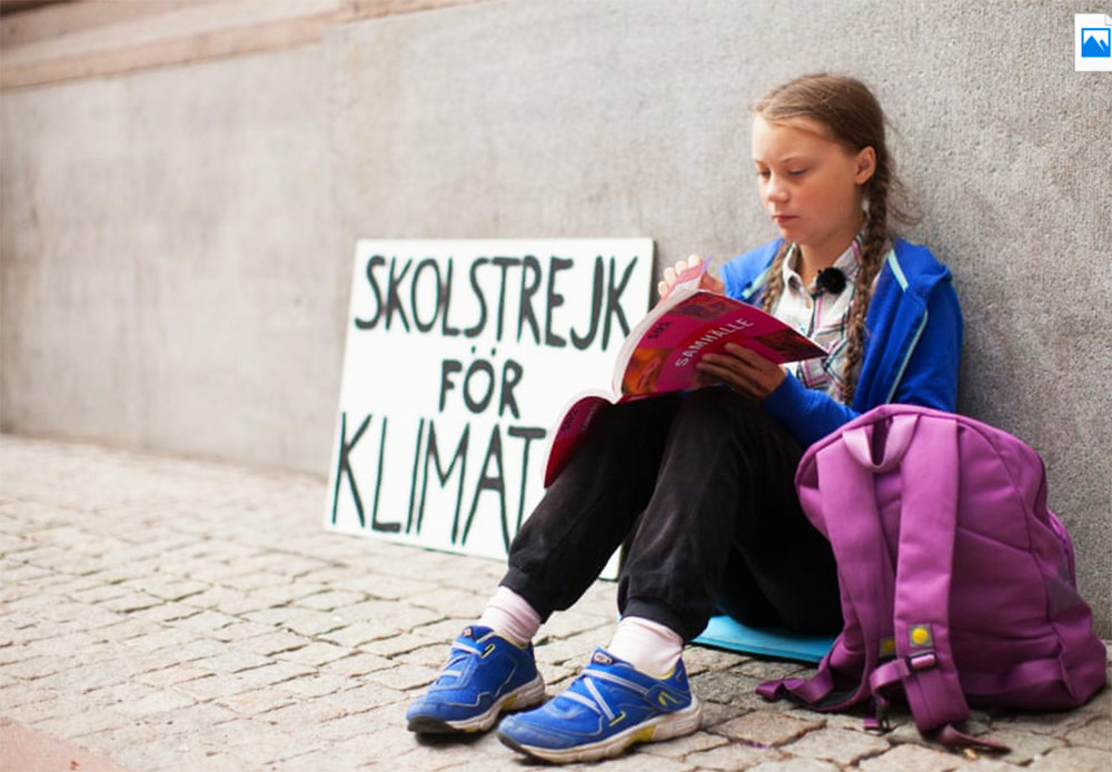 Greta Thumberg al parlamento svezia stoccolma 2018